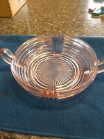 Vintage Pink Depression Glass Small Bowl/Candy Dish with Handles