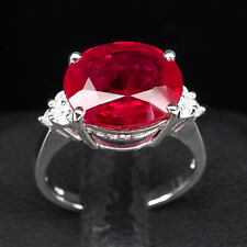 BLOOD RED RUBY RING SZ 6.75 OVAL 8.10CT.SAPPHIRE 925 STERLING SILVER WOMEN GIFT
