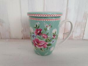 Teetasse Teebecher Rosen Mint Landhaus mit Deckel und Sieb 300 ml