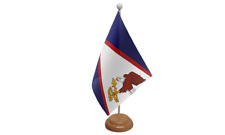 Samoa (American) Small Flag with Wooden Stand