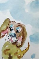 Aceo puppy dog animal pet watercolor painting art Delilah