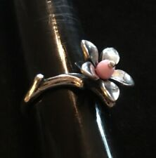 James Avery Retired Pink Bead Blossom Flower Ring Size 9