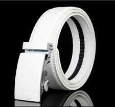 Mens White Genuine Leather Belt Waistband Strap Automatic Buckle Wedding Golf
