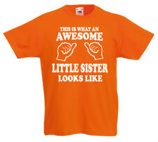 Awesome Little Sister Camiseta 3-13yrs Regalo de Cumpleaños Chicas Divertido z1