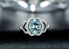 Solid 14K White Gold Genuine Natural Sparkly AQUAMARINE Engagement Diamond Ring