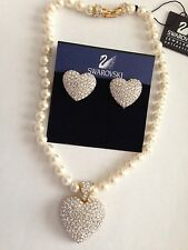 Swarovski Crystal Heart Earrings & Faux Pearl Crystal Heart Necklace Signed-New