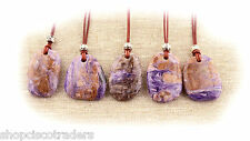 Purple CHAROITE BOHO Tribal Gypsy Pendant Leather Necklace A056-3 FREE GIFT BOX