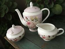3 PC NEW  GRACIE CHINA  STECHCOL PINK ROSE TEA POT  SUGAR AND CREAMER