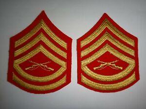 Pair USMC Marine GUNNERY SERGEANT Gold On Scarlet Velvet Small Chevrons Unused