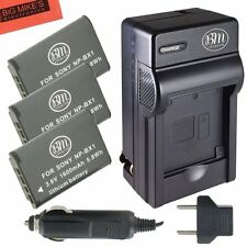BM NPBX1 3X Batteries & Charger for Sony CyberShot HDR-AS10,AS15,AS30V,AS100V