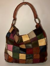Lucky Brand Striped Patchwork Colorful Leather And Suede Bag Purse Tote