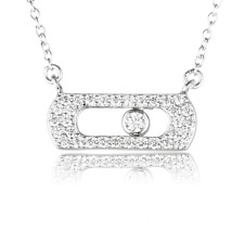 New model Paris style Jewelry Sterling Silver pave Necklace Pendant