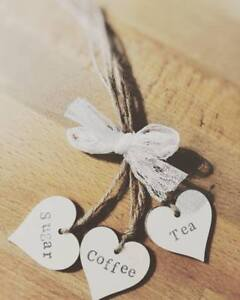 TEA,COFFEE,SUGAR WOODEN TAGS RUSTIC STYLE WHITE HEARTS GIFT MOTHERS DAY