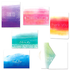 Thank You Cards Notes w/ Envelopes Set 36 Blank Greeting Card 6 Designs Colorful