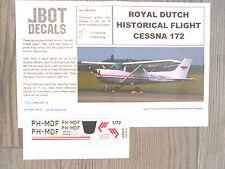 """CESSNA-172 """"ROYAL DUTCH HISTORICAL FLIGHT"""" JBOT DECALS RARE 1/72"""