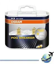 OSRAM H3 FOG BREAKER 62151FBRHCB 2600K 55W 12V PK22S +60% Light 2 bulbs