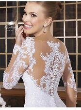 UK 2016 White/Ivory Lace Long sleeve Wedding Dress Bridal Gown Sizes 6-16