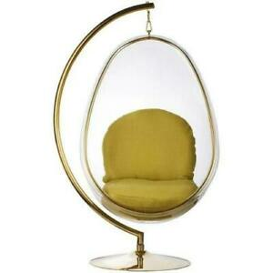 Hanging Egg Bubble Chair with Stand in Gold Finish Various Colour Cushion