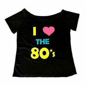 I LOVE THE 80S OFF THE SHOULDER T SHIRT 1980S FANCY DRESS COSTUME WOMENS OUTFIT