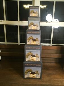 "Warren Kimble ""Home Sweet Home"" Nesting Boxes WKNB07 Set of 5 Farmhouse Country"