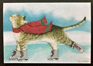 Cat Christmas Card Paris Bottman Ice Skates ONE 7x5 Tabby Winter Bliss Cat Cards