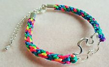 Autism Awareness Puzzle Piece Multi-coloured Kumihimo Bracelet