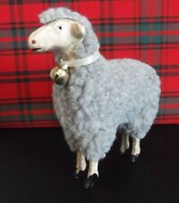 "Primitive Gray Wool Sheep figurine, putz style, 4"" Tall, Ragon House, Nwt"