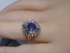 Estate 14k Gold Ballerina Ring Ceylon Sapphire Baguette Diamonds 2.25 CT Vintage
