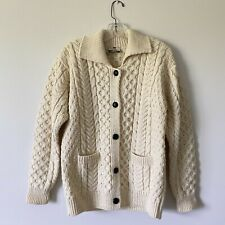 Medium - CARRAIG DONN Womans Handknit 100% Wool Fishermans Cardigan Sweater
