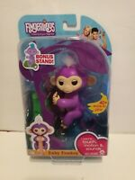 Authentic Fingerlings Interactive Baby Monkey Purple Mia Includes Bonus Stand