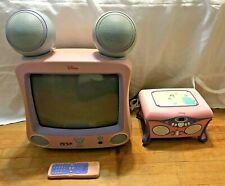 """Disney Princess 13"""" Pink TV # DT1300-P & Disney CD Jukebox Player Pink Princess"""