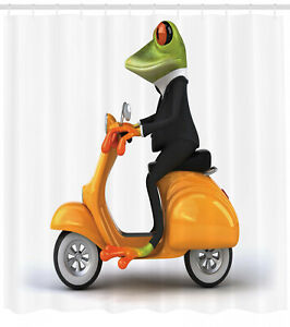 Funny Shower Curtain Italian Frog Motorcycle Print for Bathroom