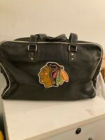 Chicago Blackhawks Premium Embroidered Black Leather Roots Duffel Bag Hockey