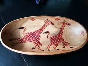 Wooden Hand Carved oval shaped bowl - Giraffe design