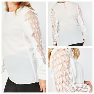 Ladies White Top Size EU 48 (20) REYON ORIGINAL Long Leaf Embellished Sl NEW 🌹
