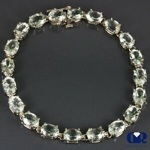 Classic Natural 14.00 Carat Green Amethyst Tennis Bracelet In 14K White Gold 7""