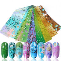 16Pcs/Set Holographicsss Nail Foils Waterdrop Patterns Nail Art Transfer Sticker