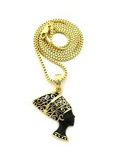 "NEW NEFERTITI BLACK & GOLD PENDANT &2mm/24"" BOX CHAIN HIP HOP NECKLACE XQP26BXG"