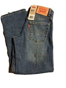 NEW 7 Reg Levis Strauss 511 Slim Fit Boys Blue Jeans Red Tag Adjustable Waist