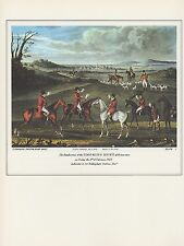 "1974 Vintage HUNTING ""THE SMOKING HUNT AT BRAUNSTONE"" COLOR Art Print Lithograph"