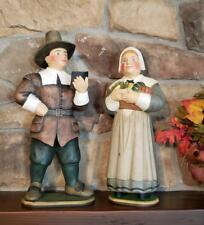 Set 2 Large Leo Smith First Thanksgiving Pilgrims Figurines Midwest Dept 56