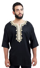 Moroccan Men Tunic Shirt Cafan Casual Handmade Embroidered Cotton Large Black