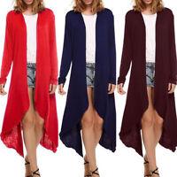 Women Long Sleeve Solid Slim Long Cardigan Open Front Jacket Sweater Casual Coat