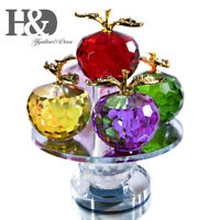 Crystal Apple Figurine  rotating Ornament Cut Paperweight Home Xmas Decoration