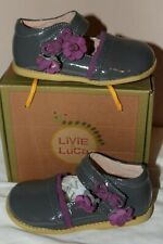 NWB Livie and Luca Girls Gray & Purple Bell Leather Mary Jane Shoes Size 9