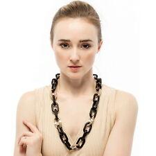Statement Alloy Long Black Metal Link Chain Big Pendant Necklace For Women 2017