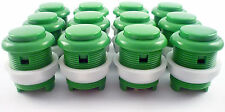 12 x 28mm Round Convex Curved Arcade Push Buttons & Microswitches (Green) - MAME