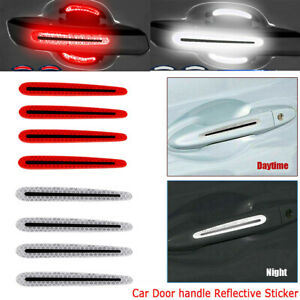 4pcs Night Reflective Car Door Handle Sticker Safety Distance Warning Film Decal
