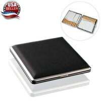 Cigarette Case Leather Metal Hold 20 Cigarette Smoke Holder Storage Case Black