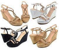 """MARIVE-5 New Blink Wedges Party/Prom 3.2"""" inch High Heel 1"""" Platform Women Shoes"""
